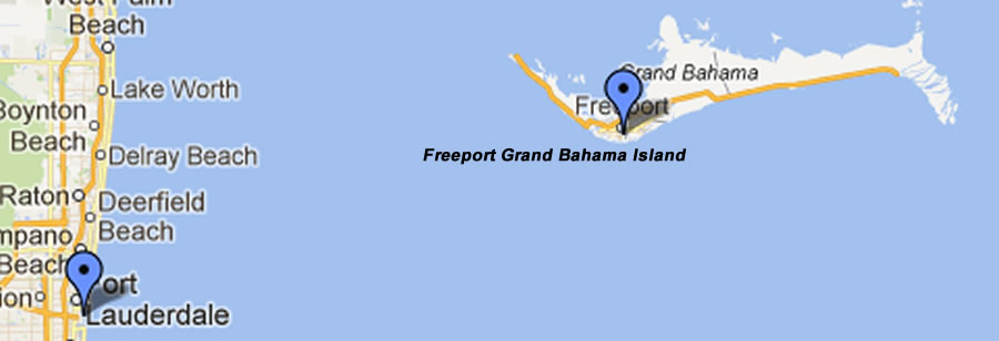Map of Fort Lauderdale to Freeport Grand Bahama Island