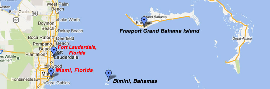 Map of Miami, Bimini, Bahamas, Fort Lauderdale and Grand Bahama Island